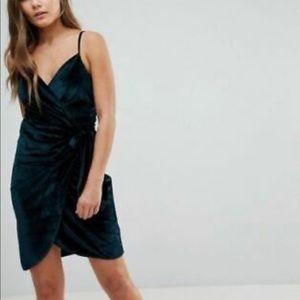 Parisian Green Velvet Mini Wrap Tie Dress 8 UK